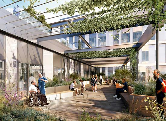 A három tetőkert csökkenti a stresszt és segíti a gyógyulást: mindkét tényező fontos a modern kórháztervezésben. A renderelt kép a Momentum Architects tulajdona.